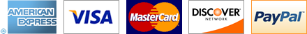 Accepted payment methods: American Express, VISA, Mastercard, and Discover credit cards, and Paypal